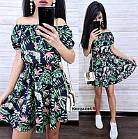 Женское платье с тропическим принтом, фото 1