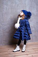 Детское пальто для девочки Верхняя одежда для девочек DB Kids Италия 18101 Синий 122, , синий,