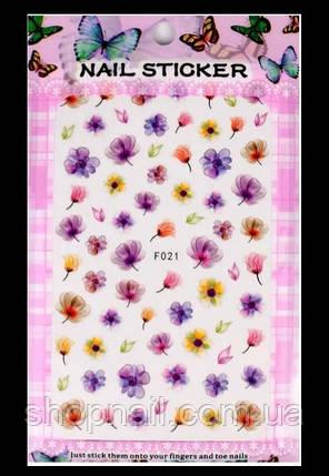Наклейки на ногти Акварельные цветы, фото 2