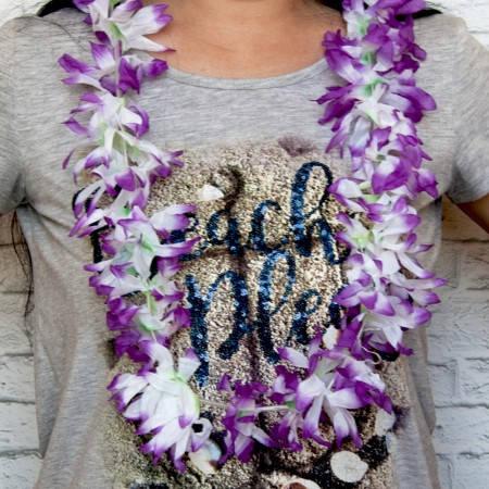 Гавайские леи Гибискус (белый с сиреневым), фото 2