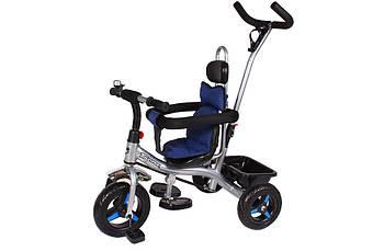 Велосипед трехколесный  THUNDER T-321 с EVA колесами и системой Anti-slip + корзина и колокольчик Черный/Синий