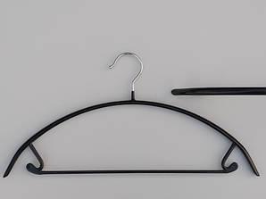 Плечики длиной 42 см металлические в силиконовом покрытии черного цвета
