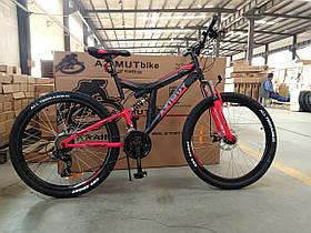 """Спортивный велосипед 26 дюйма Azimut Power Shimano рама 19.5"""" черно-красный"""