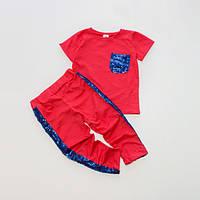 Костюм Little Bunny (футболка + штаны) 134см Коралловые (5047047)