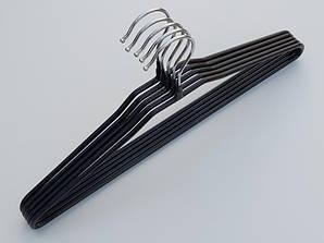 Плечики длина 40 см металлические в силиконовом покрытии черного цвета, 5 штук в упаковке