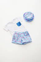 Костюм (футболка+шорты+панамка)принт-фламинго 116р (10003)