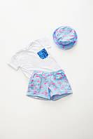 Костюм (футболка+шорты+панамка)принт-фламинго р128 (10004)