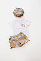Костюм (футболка+шорты+панамка)принт-лисички р140 (10009)