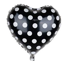 Шар фольгированный сердце 18' чёрное в белый горох
