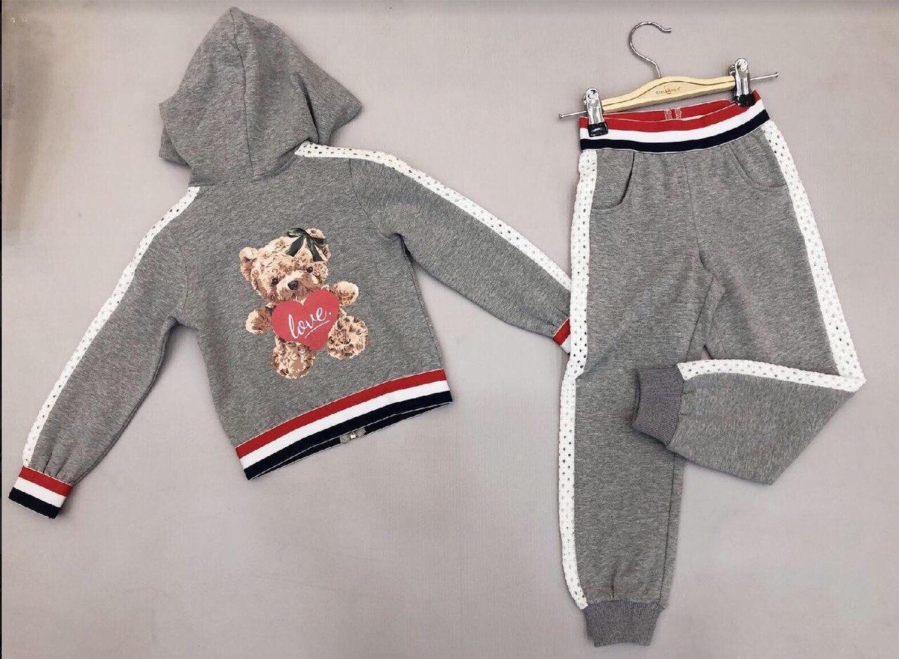 Детский спортивный костюм для девочки Colabear Турция 683000 Серый весенний осенний демисезонный