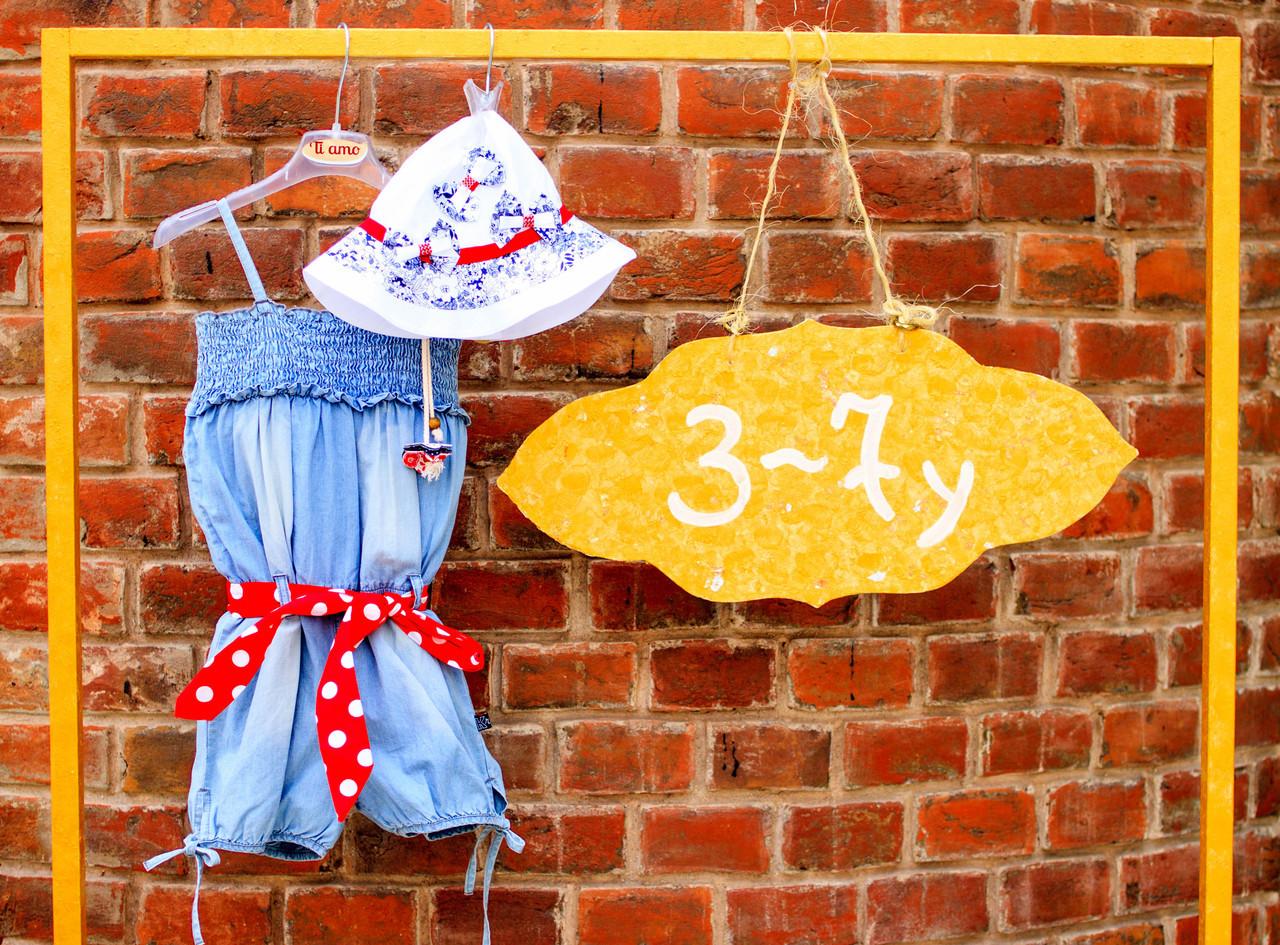 Дитячий джинсовий комбінезон для дівчинки Krytik Італія 79478 / KB / 00A Синій