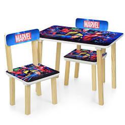 Столик 501-78 д60-ш40-в43см,2стульчика,ш30-г30-в51см,высот.до сид.23см, супергерои