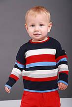 Дитячий светр для хлопчика Krytik Італія 84185 / kn / 00a темно-синій, смужки червона, біла, блакитна
