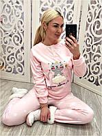 Теплый костюм для дома (пижама) брюки, кофта и маска для сна, фото 1
