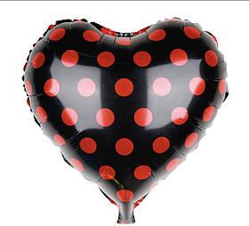 Шар фольгированный сердце 18' чёрное в красный горох