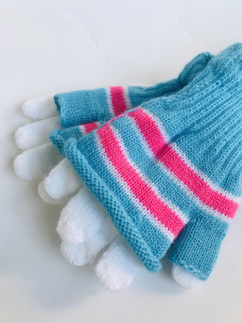 Дитячі рукавички для дівчинки NIKOLA Польща 9173, рожеві, весняна осіння демісезонна