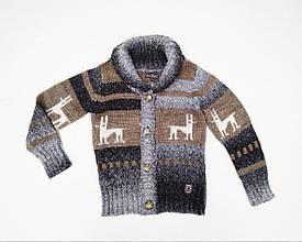 Теплий, зимовий, в'язаний Дитячий пуловер для хлопчика з оленями Krytik Італія 94373 / K4 / 00A чорно-сірий
