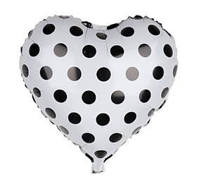 Шар фольгированный сердце 18' белое в чёрный горох