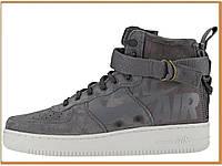 Мужские высокие кроссовки Nike Special Field Air Force 1 SF AF Gray (найк аир форс 1 высокие, серые)