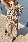 Платье миди в горох с поясом на завязках и карманами (9150), фото 3