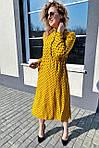 Платье миди в горох с поясом на завязках и карманами (9150), фото 5