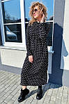 Платье миди в горох с поясом на завязках и карманами (9150), фото 6