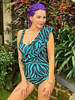 Жіночий закритий купальник з воланом XS-XXXL чорно-синій Зебра/женский слитный закрытый купальник с воланом