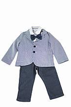 Детский пиджак для мальчика Праздничная одежда для мальчиков MANAI Италия BF000BBБелый темно-синяя полоска,