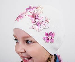 Дитяча шапка для дівчинки BARBARAS Польща BF47 молочна весняна осіння демісезонна