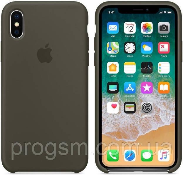 Чехол (Silicone Case) для iPhone X / iPhone XS Original Dark Olive