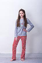 Детская пижама для девочки CORNETTE Польша HELLO, серая 158/164