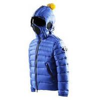 Детская куртка пуховик с очками на капюшоне для мальчика AI RIDERS Италия JK101KT CD4 Синий