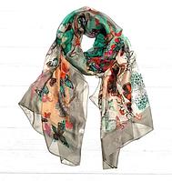Легкий шарф Бабочки, 190*110 см, капучиновый