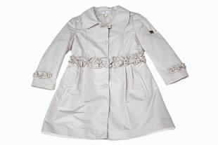 Детский плащ для девочки Верхняя одежда для девочек BABY A Италия K0898 Бежевый весенний осенний демисезонный