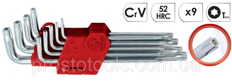 Набор Г-образных ключей Torx с отверстием 9 шт Intertool HT-0606