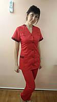 Жіночий медичний костюм Оксана сорочкова тканина Таїланд короткий рукав