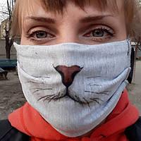 Маска з принтом кошачьей морды / маска котика / котеня / кошеня / маска з принтом котячого писку