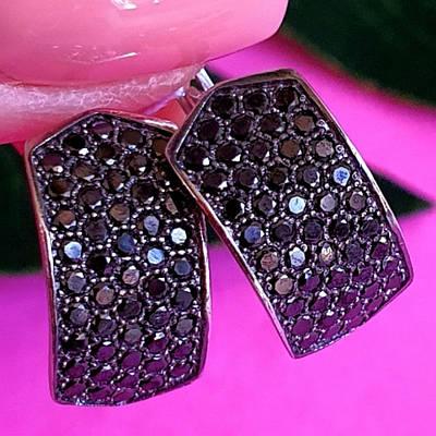 Срібні сережки з чорним цирконієм - Сережки зі срібла з чорними камінням