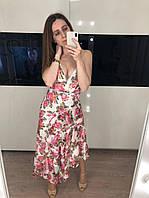 Длинное шифоновое платье с цветочным принтом