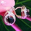 Серебряные серьги с черным цирконием, фото 2