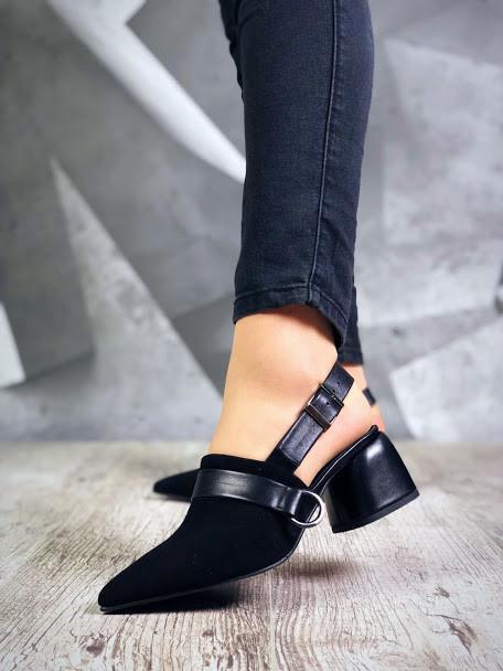Замшевые открытые туфли на каблучке 36-40 р чёрный