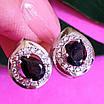 Серебряные серьги с черным цирконием, фото 5