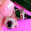 Серебряные серьги с черным цирконием, фото 4