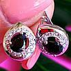 Серебряные серьги с черным цирконием, фото 3
