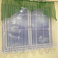 Короткая тюль для спальни из фатина ALBO 300x160 cm Бело-зеленая (KU-125-8), фото 2