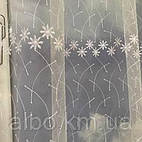 Короткая тюль для спальни из фатина ALBO 300x160 cm Бело-зеленая (KU-125-8), фото 7