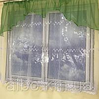 Короткая тюль для спальни из фатина ALBO 300x160 cm Бело-зеленая (KU-125-8), фото 4