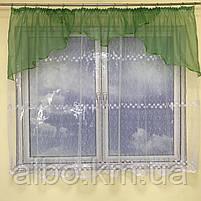Короткая тюль для спальни из фатина ALBO 300x160 cm Бело-зеленая (KU-125-8), фото 9