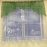 Короткая тюль для спальни из фатина ALBO 300x160 cm Бело-зеленая (KU-125-8), фото 6