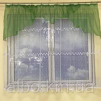 Короткая тюль для спальни из фатина ALBO 300x160 cm Бело-зеленая (KU-125-8), фото 8